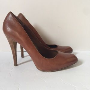 Aldo Leather Wooden Heel Pumps